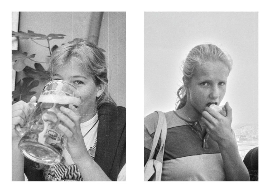 2 junge Mädchen aus den 80er Jahren.