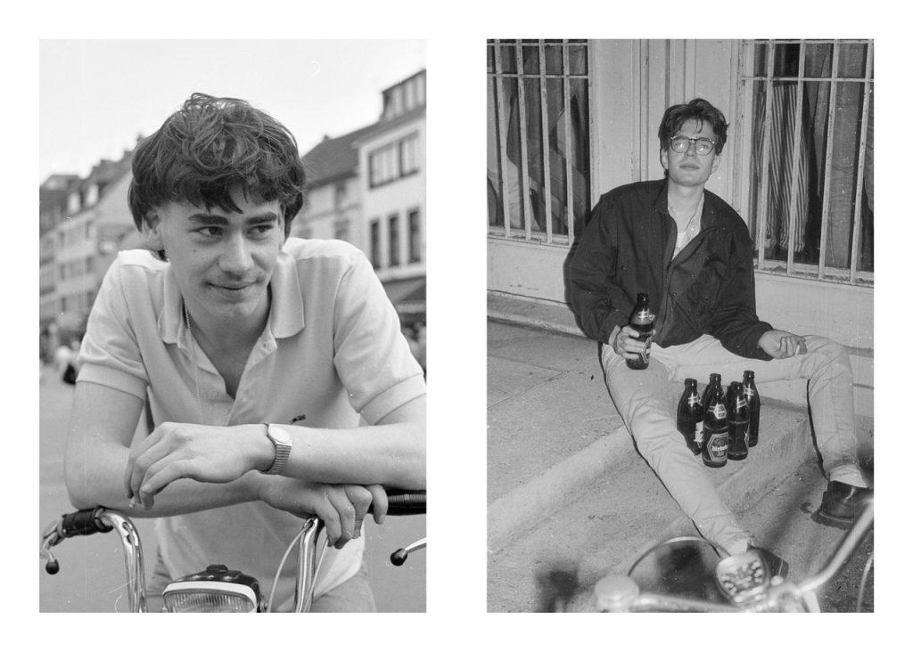 2 Jungen aus den 80er Jahren. Einer auf einem Fahrrad, einer mit Zigarette und Bierflaschen.